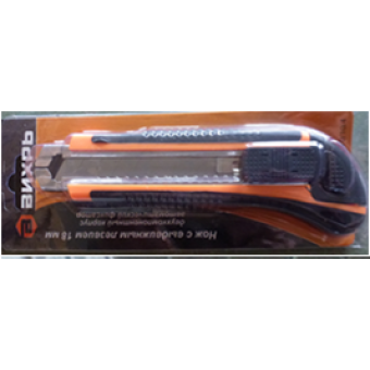 Нож с выдвижным лезвием 18 мм, двухкомпонентный корпус, автоматический фиксатор, Вихрь в Екатеринбурге